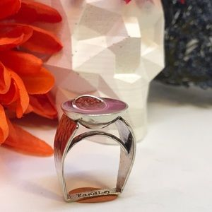 Sterling Silver Ring with Pink Resin & Lapis Inlay